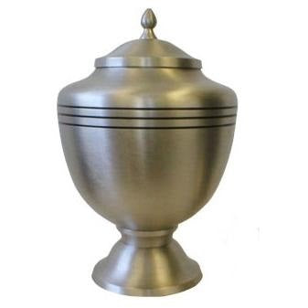 Pewter cremation urn in goblet style. Large size cremation urn for human ashes.