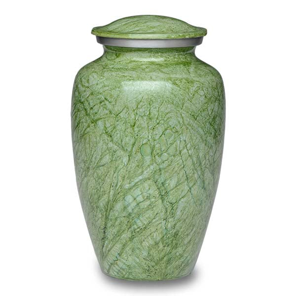 Green cremation urn hand painted, and made of durable alloy metal. Large Size, Dim: 10? H * 6 W? Cap: 200 Cubic Inches.