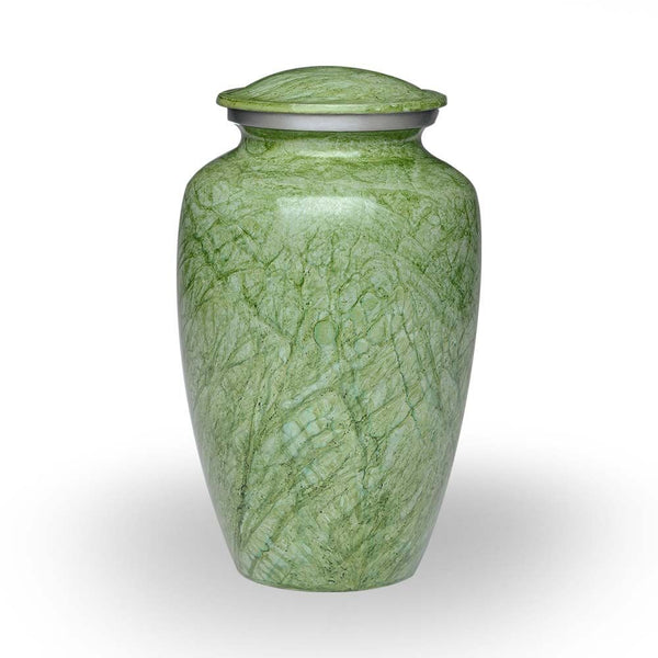 Adult size green alloy cremation urn with hand-painted finish.