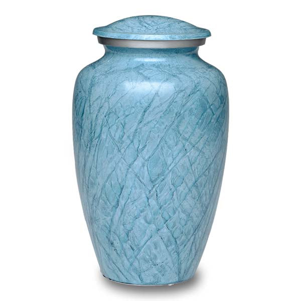 Blue cremation urn hand painted, and made of durable alloy metal. Large Size, Dim: 10? H * 6 W? Cap: 200 Cubic Inches.