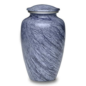 Blue Gray cremation urn hand painted, and made of durable alloy metal. Large Size, Dim: 10? H * 6 W? Cap: 200 Cubic Inches.