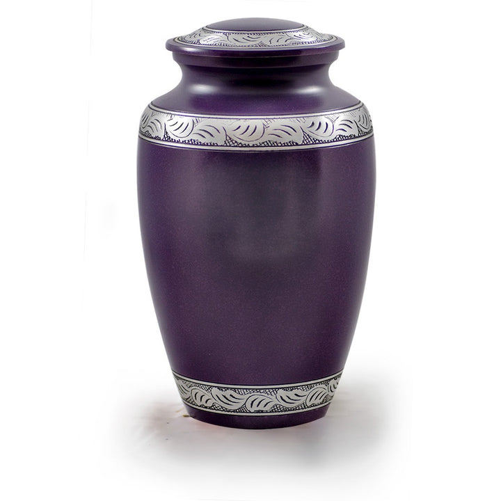 Alloy cremation urn in purple with pewter band.