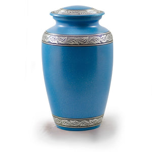 Adult alloy cremation urn in turquoise blue with pewter band.