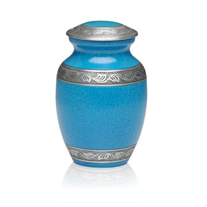 Medium alloy cremation urn in turquoise blue with pewter band.