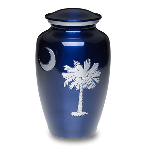Adult size alloy cremation urn in beautiful blue with South Carolina design palmetto tree and crescent moon.