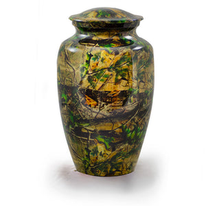 Camo urns for ashes. Metal cremation urn. Large Size, Dim: 10? H * 6 W? Capacity: 200 Cubic Inches.