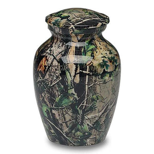 Medium size camouflage urn. Camo urns for ashes. Size: 7.25? H x 4.75? W; capacity: 70 cubic inches. Camouflage urn.