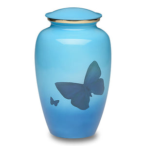 Butterfly cremation urn made of solid brass. Adult size memorial urn for ashes.