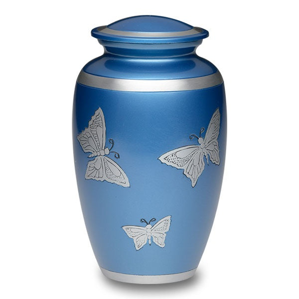 Alloy adult size blue cremation urn with large silver butterflies.