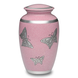 Adult size alloy cremation urn in pink with large silver butterflies.