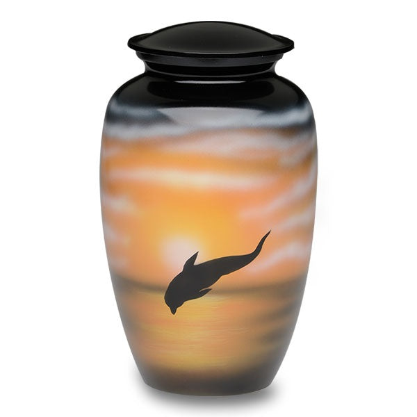 Adult alloy cremation urn with jumping dolphin design.