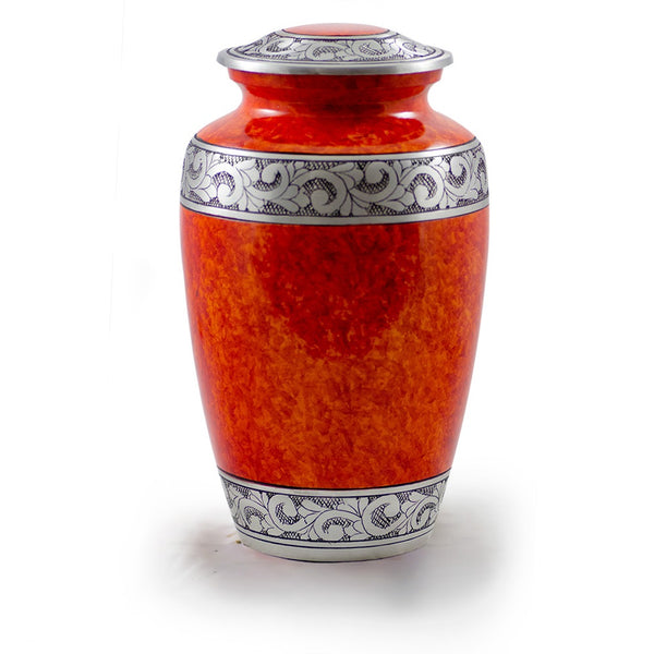 Alloy adult size red cremation urn with hand-tooled pewter band.