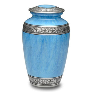 Adult size alloy blue cremation urn with hand-tooled pewter band.