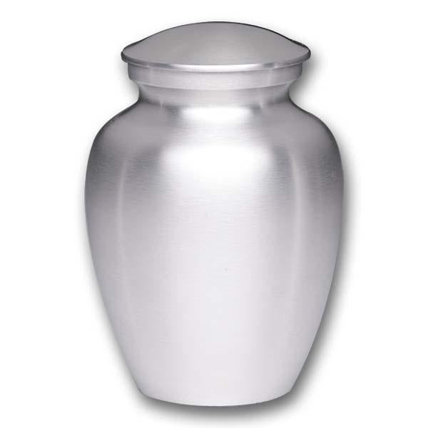 Alloy cremation urn in silver.