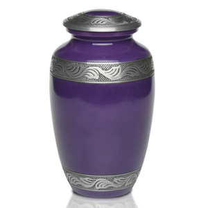 Cremation Urn in Beautiful Aubergine Purple with Pewter Band. Threaded lid allows secure closure. Felt-lined base.