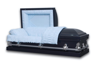 "metal funeral casket is hand made of 18 gauge Gasketed in Brushed Blue and Silver Finish with White Velvet Interior with outside width of 28.5"" which is right size to fit into the vault in cemetery."
