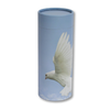 "Small scatter tube for ashes with Ascending Dove design. Size 8.9"" * 2.95""; 40 cubic inch capacity."