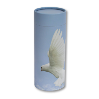 "Mini scatter tubes, Assending Dove design. Size: 5.25"" * 2.95"" Capacity: 20 cubic inches, made from renewable resources and biodegradable."