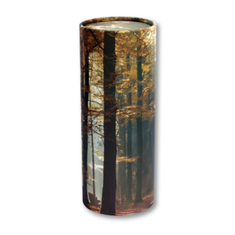 "Mini scatter tubes, Autumn Woods design. Size: 5.25"" * 2.95"" Capacity: 20 cubic inches, made from renewable resources and biodegradable."