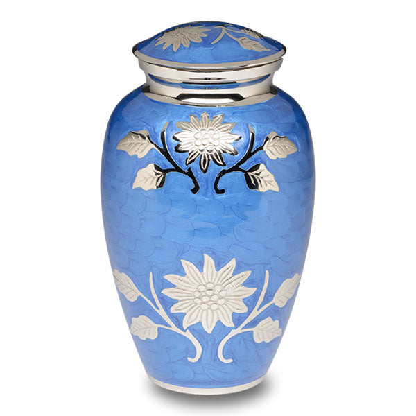Elegant adult cremation urn with cornflower blue enamel over nickel plated brass.