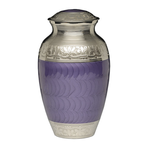 Purple urn for ashes with fleur-de-lis design in enamel over nickel plated brass.