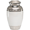 White urn for ashes with fleur-de-lis design in enamel over nickel plated brass.