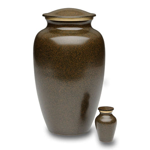Brass cremation urn in earthy-brown color. Urn for human ashes. Large Size, Dim: 10? H * 6 W? Capacity: 200 Cubic Inches.