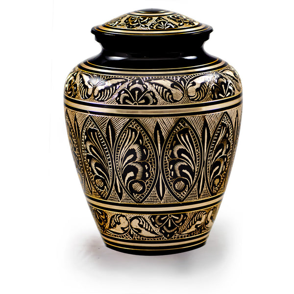 Decorative urns for ashes made of solid brass. Dimensions: 9.5? H x 7? W and capacity: 200 cu. In.