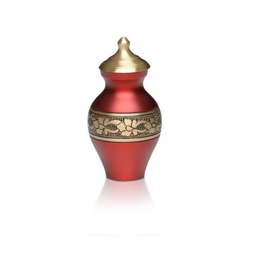 Keepsake red cremation urn made in solid brass. Large memorial urn for ashes.
