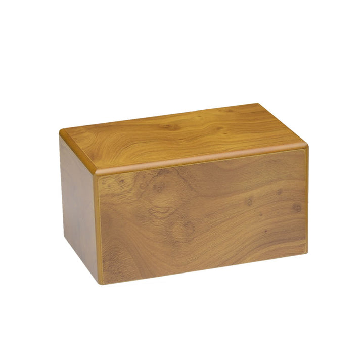 Our wooden cremation urns are made from engineered wood polished to a honey finish and open and seal from the bottom.