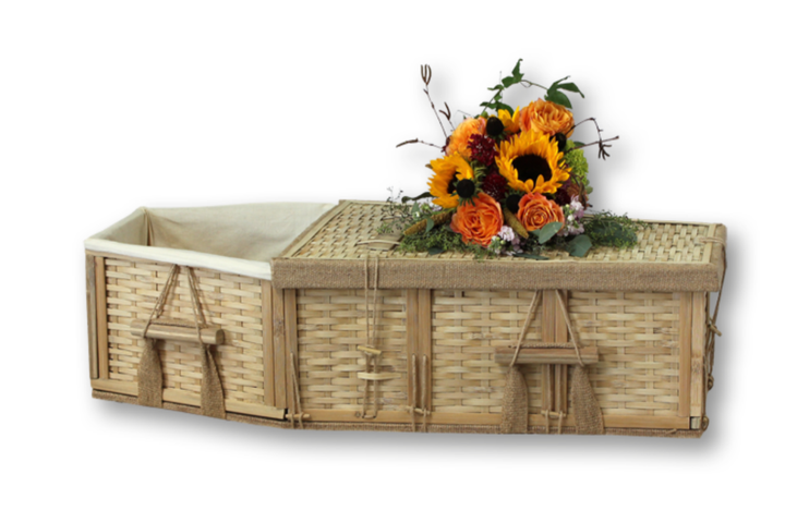 "Baby coffin handmade of bamboo, and lined with natural unbleached cotton. Available in 24"" and 36"" sizes. Financing available, no interest plans. Free shipping."