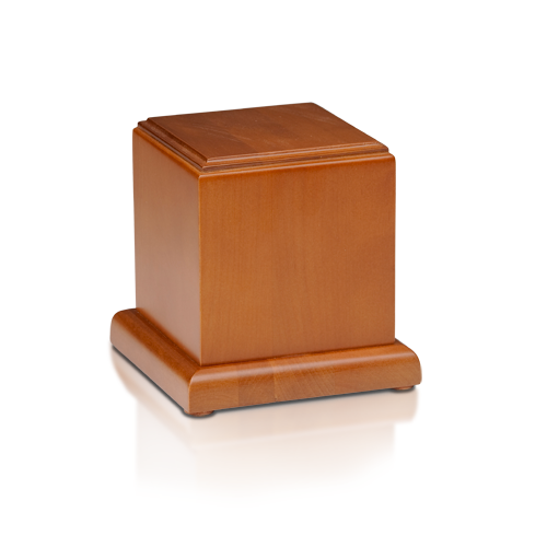 Wood cremation urn made of solid birch wood. Available in small and medium sizes.