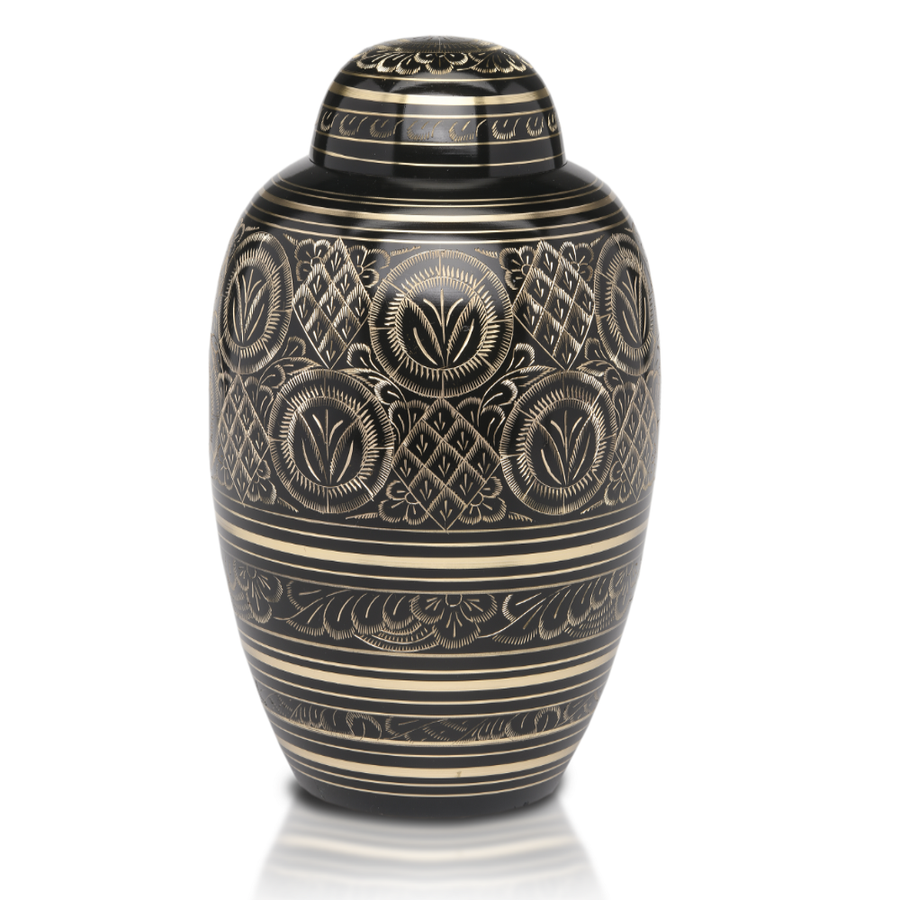 Adult Cremation Urn with Dome Top. Hand-cut black and gold design with threaded lid allows secure closure. Felt-lined base.
