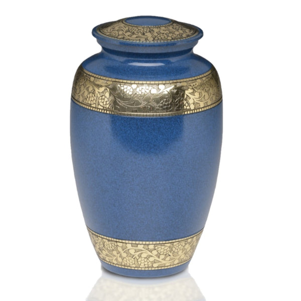 Classic Brass Cremation Urn in Blue with Brass Bands.Threaded lid allows secure closure. Felt-lined base.