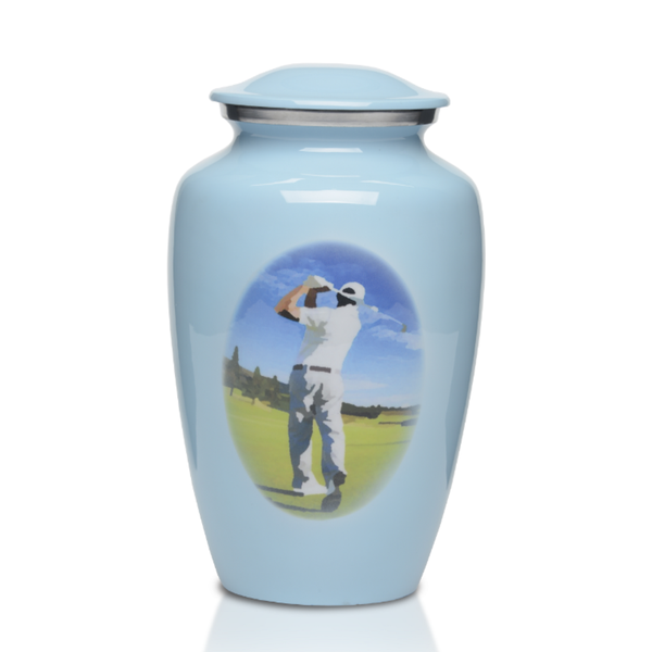 Alloy Cremation Urn with Beautiful Blue Finish with Golfer Design. Threaded lid allows secure closure. Felt-lined base.