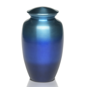 Alloy Cremation Urn in Beautiful Ombre Blue Tone Shades. Threaded lid allows secure closure.