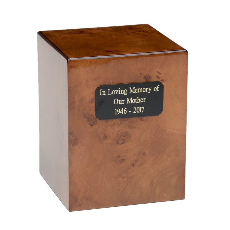 Cherry wood cremation urn made from burl cherry wood.