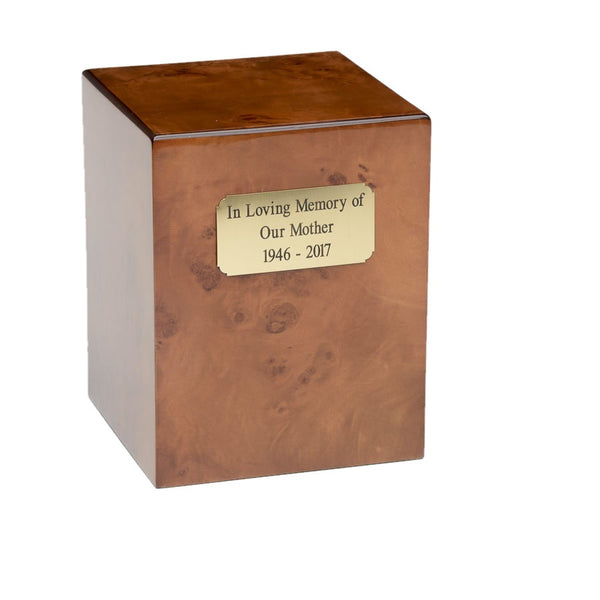 Cherry wood cremation urn made from burl cherry wood. Large size. Outer dim:  7? L x 7 W x 9? H, Capacity 270 Cubic Inches.