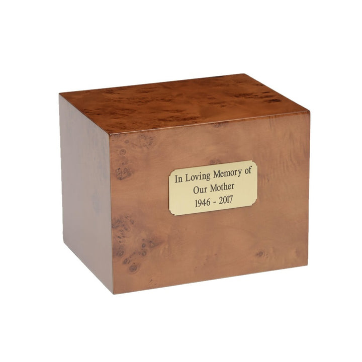 Cherry wood urn, made from burl cherry wood. Large size. Outer dim:  9? L x 7 W x 7? H, Capacity: 260.