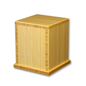 "Traditional bamboo cremation urn handcrafted from 3/4"" bamboo plywood made from sustainable eco-friendly bamboo. Dimensions: 7.625"" L * 7.625"" W * 8.625"" H  Capacity: 210 Cubic Inches"