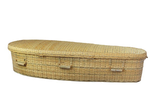 Bamboo casket made from sustainable bamboo, lined with natural unbleached cotton. Durable and weight-tested to 350 lbs.