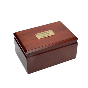Companion cremation urn made of solid birch wood.
