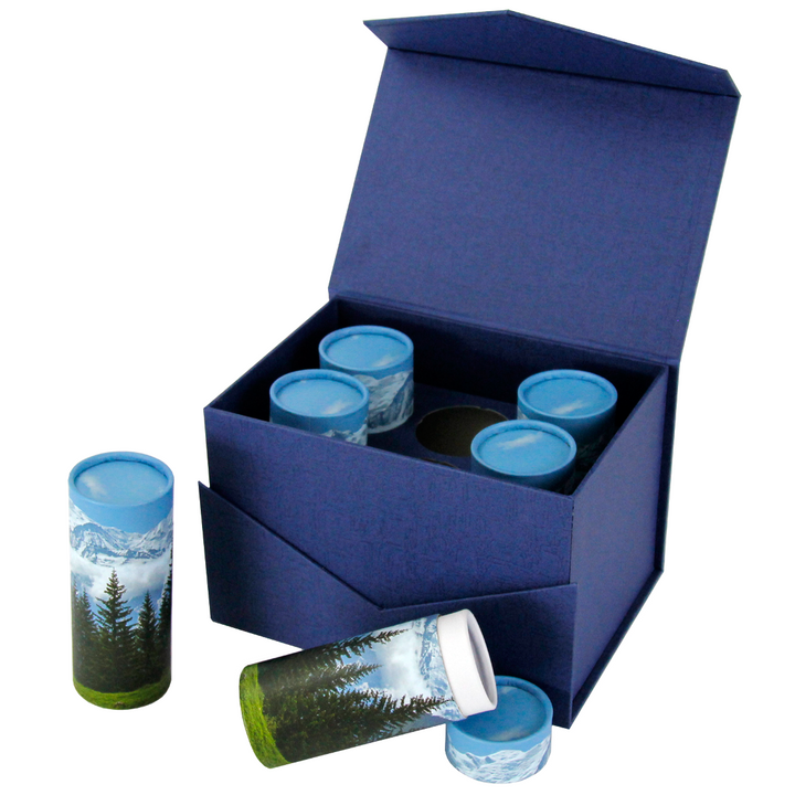 Carrying and presentation box holds six token size scattering tubes and can be engraved.