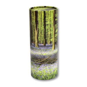 "Token keepsake scatter tube with Bluebell Forest design. Dimensions 4.75"" * 2"" and Capacity: 10 cubic inches."