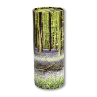 "Medium scatter tube for ashes with Bluebell Forest design. Size 10.1"" * 4""; 100 cubic inch capacity."