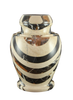 Natural marble urns in gold created by skilled artisans. The dimensions follow: 10.5″ H and 8.5″ Dia. Capacity: 220 Cubic Inches.