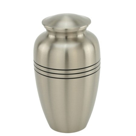 Pewter cremation urn with three rings. Large Size Dimensions: 10? H * 6 W? Capacity: 240 Cubic Inches.