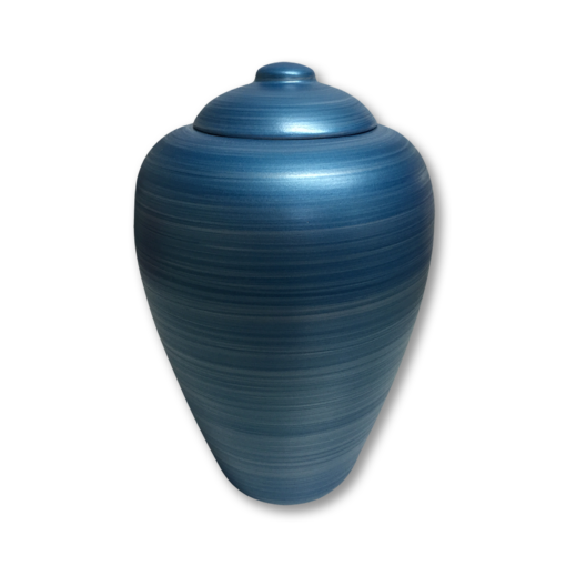 "Blue biodegradable urn for water. Dimensions: 7.25"" Dia. x 11"" H and Capacity 220 Cubic Inches."