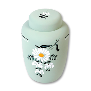 "Eco friendly cremation urns made of cornstarch in Daisy design. Large Size: 6.75"" W * 10.25"" H, and Capacity 238 cubic inches."