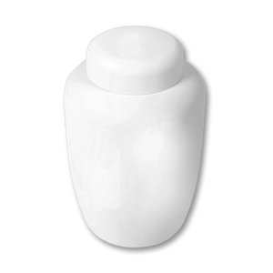 "Eco friendly cremation urn made of cornstarch in white. Large Size: 6.75"" W * 10.25"" H, and Capacity 238 cubic inches."